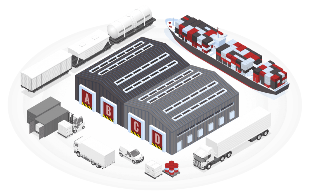 Drawing of large Hamilton warehouse surrounded by shipping vehicles